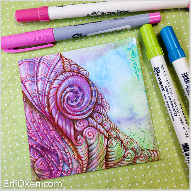 Learn how to distress Zentangle® • enioken.com