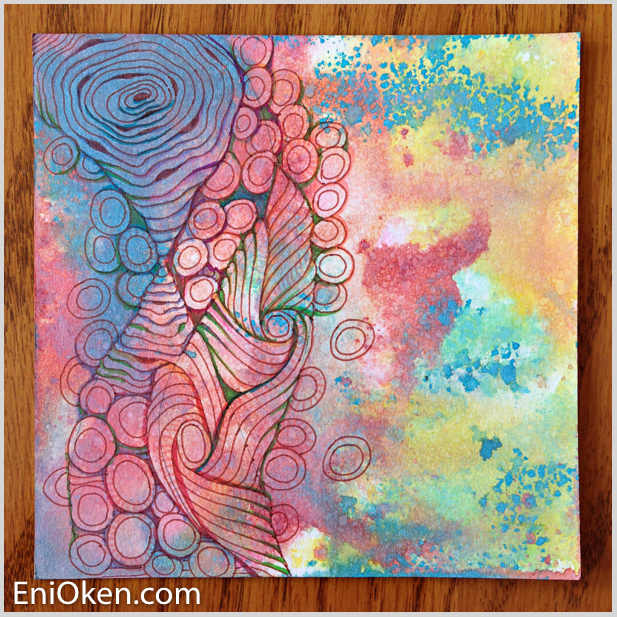 Learn how to create amazing Zentangle over distressed tiles • enioken.com
