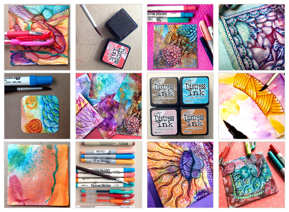 Learn how to create Zentangle® over distressed tiles • enioken.com