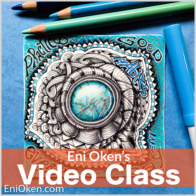 TANGLING A TURQUOISE BROOCH - 3 VIDEO Bundle - Learn how to create this stunning turquoise Zentangle® brooch! There is so much information packed into this class, it's like having many lessons in one. I hope you love it!THREE videos.Learn more