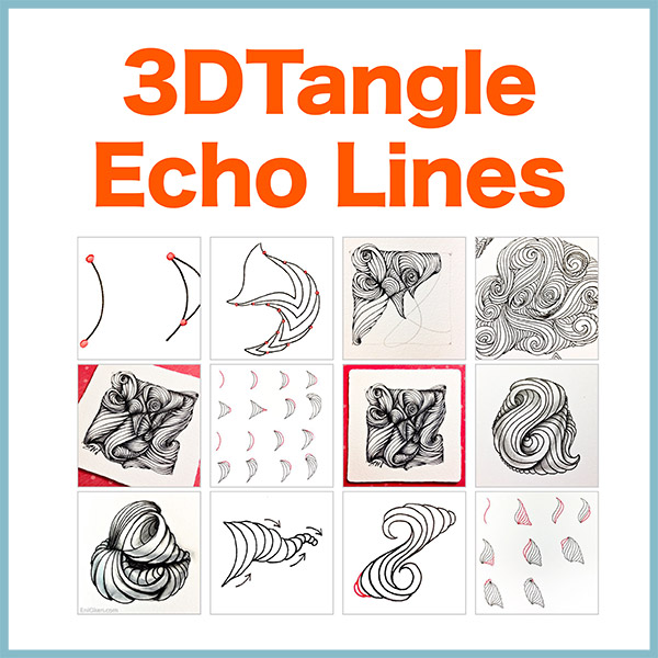 Echo Lines PDF Ebook - Enhance your Zentangle art with this beautiful new type of meditative art. Create beautiful 3D effects even without shading. Delivery via email linksLearn more or comment