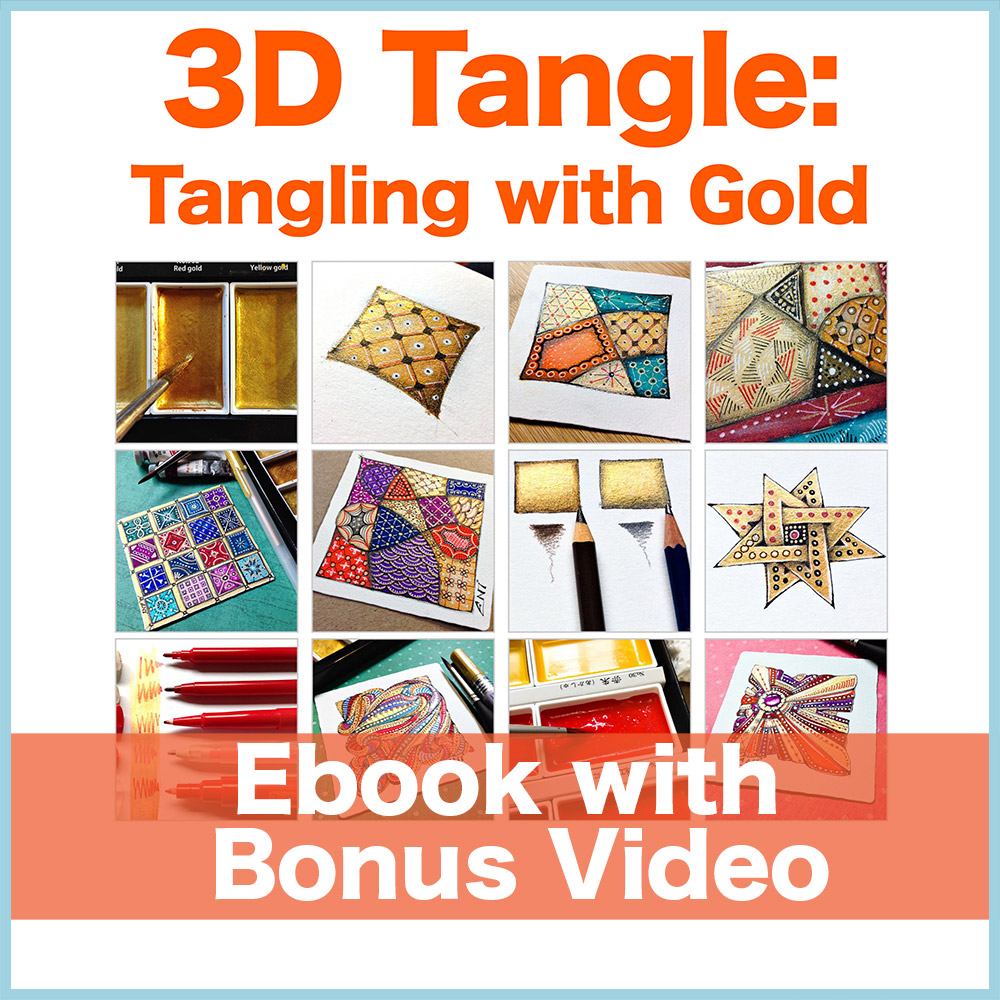 Tangling with Gold PDF Ebook + Bonus Video - Learn how to create shimmering Zentangle® art with metallic pens and watercolors. Comes with a bonus video!Delivery via email linkLearn more