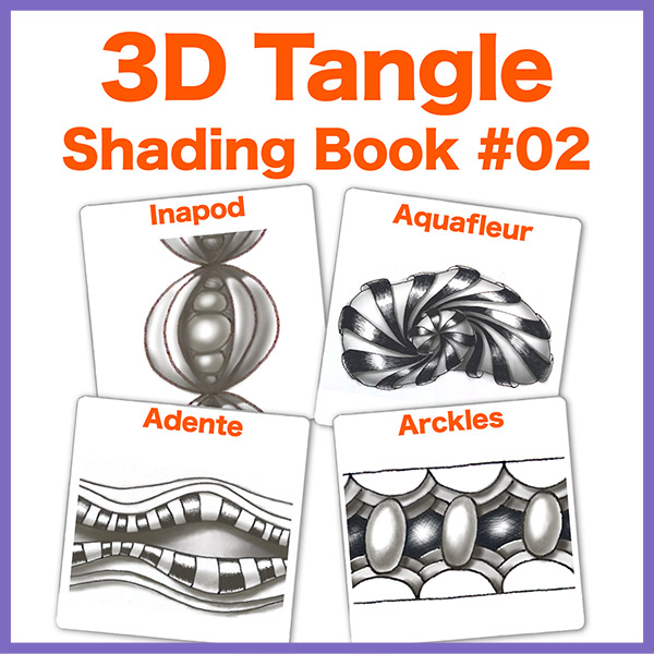 Shading Guide #02PDF Ebook - Learn how to shade 4 more tangles: Inapod, Aquafleur, Adente and Arckles. All steps in red so it's easy to follow!Delivery via email linksLearn more or comment