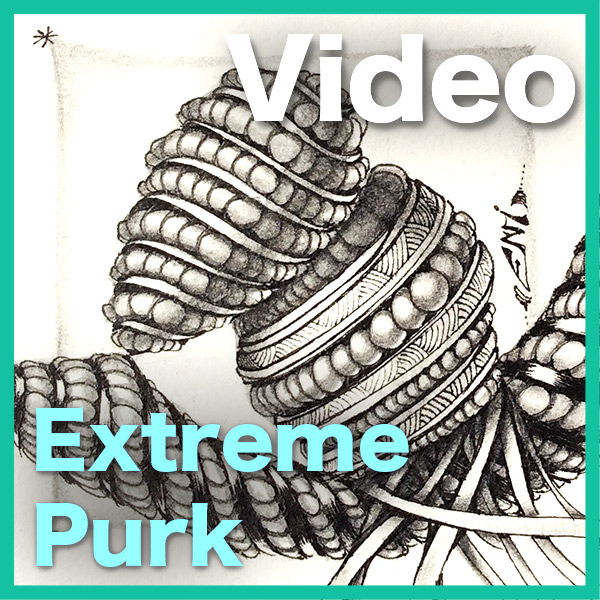 Brand New! 3DTangle Purk Extreme Video - This HOUR-LONG video shows you exactly how to draw, shade and decorate Purk tangle in EXTREME 3D.• How to understand the line-art to can make Purk dimensional• How to shade the overall picture, ribbons and pearls• How to create stripes and decorated ribbonsYou will fall in love with this rich, beautiful tangle!Delivery via email link