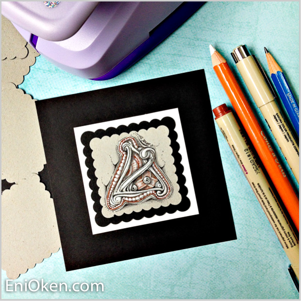 I bought a scalloped punch that was a little too large -- then I had to buy another one. So I used them layered to create beautiful vignettes with Zentangle® dingbatz • enioken.com