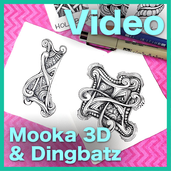 Mooka 3D & Dingbatz Video Lesson - This 44 minute long video will show you how I use 3-dimensional Mooka tendrils to create gorgeous brooch-like dingbatz.• How to draw and shade Mooka 3-dimensional• How to enhance, decorate and shade dingbatzDelivery via email linkLearn more about this lesson