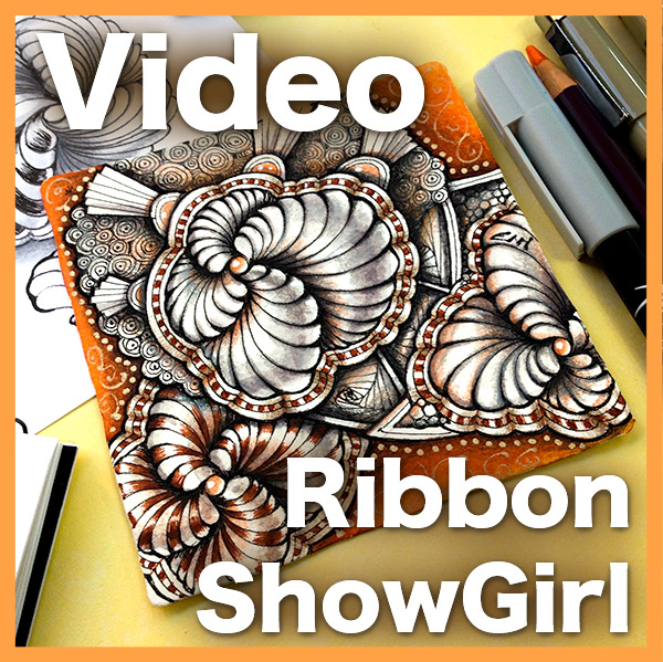 Ribbon Showgirl Video - This hour-long lesson covers a variety of techniques, including Showgirl, 3D Ribbon auras, Striping, Watermarkers, Tinting and shading with colored pencils.