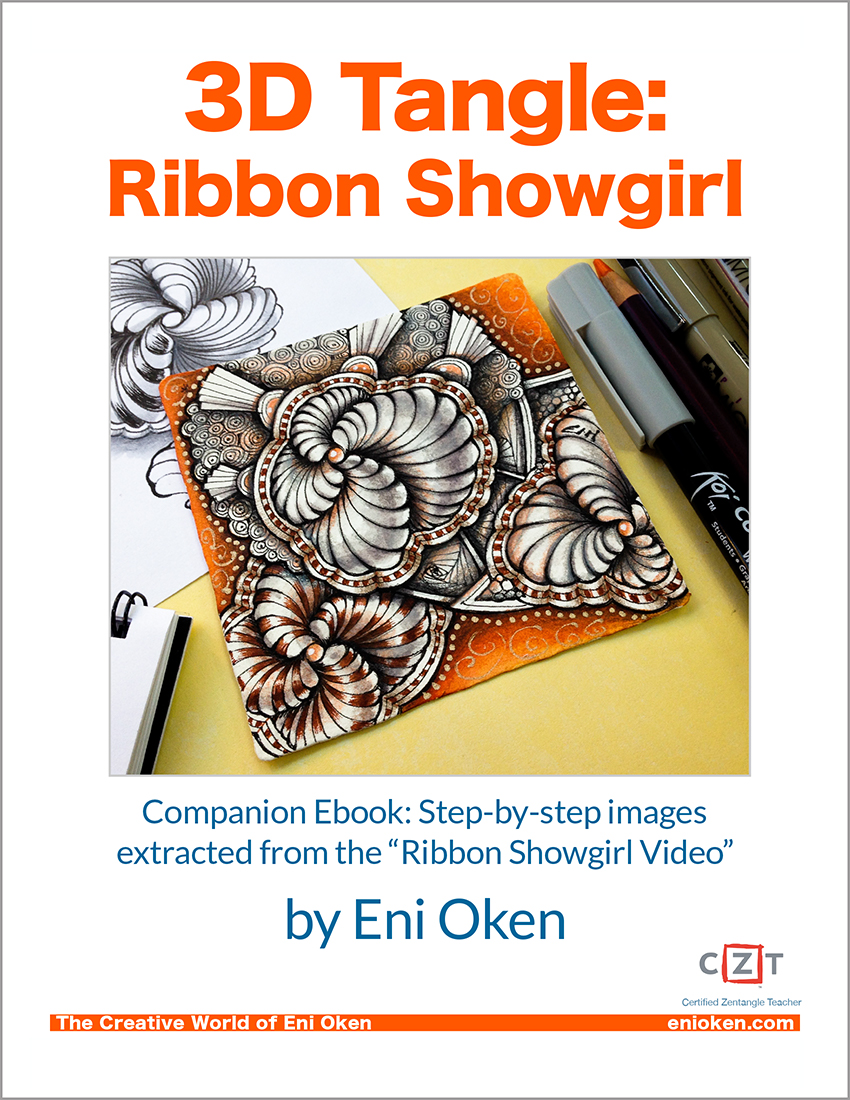 Learn how to create tangle Showgirl so beautifully with 3D ribbons. Art club members get a companion ebook with over 100 screenshots of the video for easy printing. • enioken.com