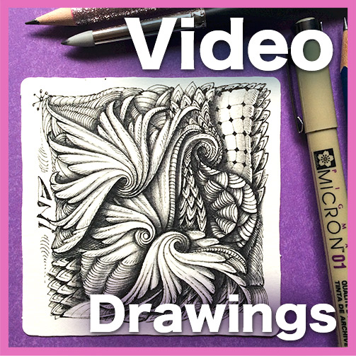 Drawings Video Lesson - This 36-minute long video will show you how I created this gorgeous Zentangle® tile using the lovely winged tangle