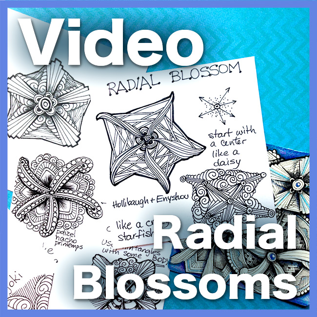 Radial Blossoms Video Lesson - In this video lesson we will explore and understand Blossom-structure tangles, and more specifically, how to design your own Blossom using Radial structure.Delivery via email linkLearn more about this lesson