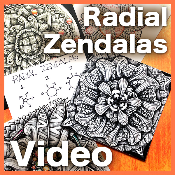 Radial Zendala Video - This hour-long video will teach you how to create gorgeous organic-looking Radial Zendalas without the pressure of creating perfect symmetry. It also answers the tricky question about how to shade ZendalasWITHOUT using a fixed source of light and so much more.