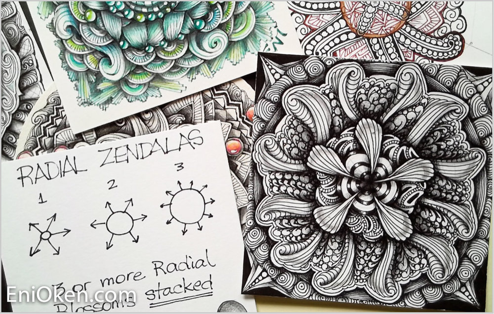 Learn how to create gorgeous Zentangle® with Ribbon Showgirl video • enioken.com