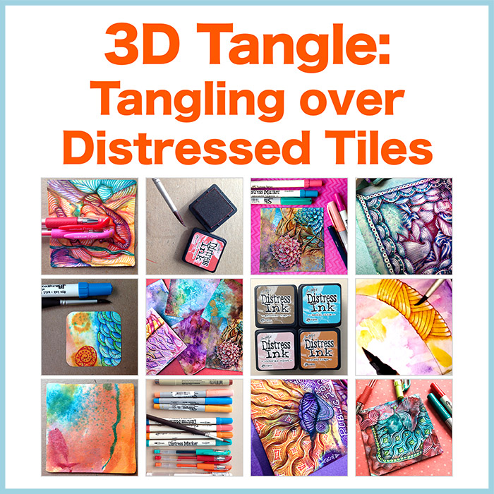 Tangling over Distressed Tiles - Ebook - Learn how to use various different types of pens to create vibrant colorful Zentangle® over distressed tiles.