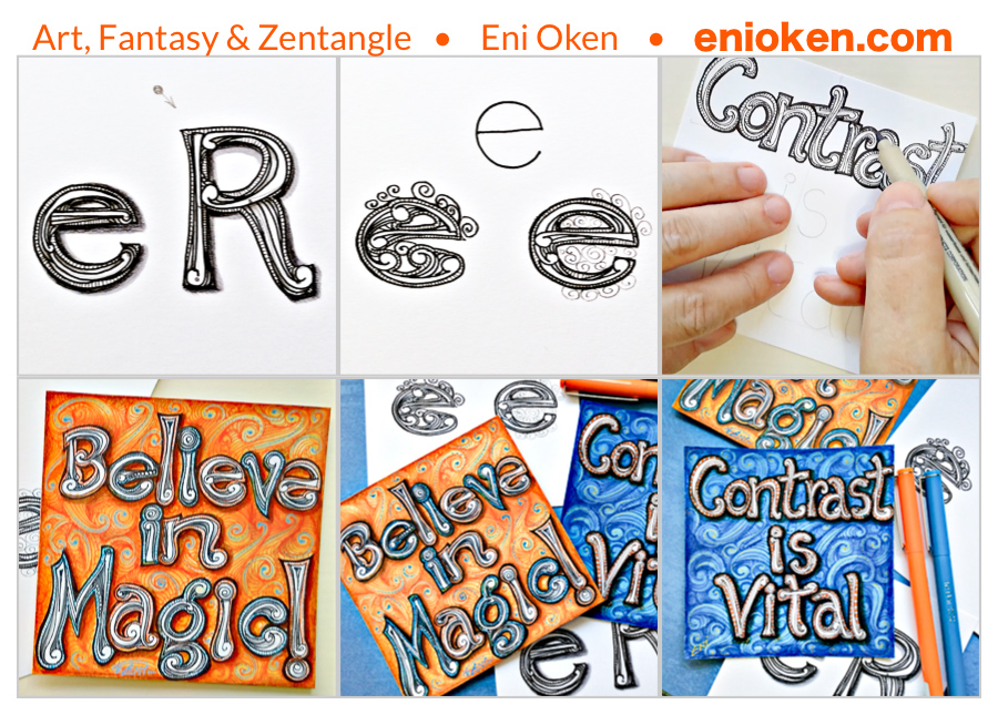 Learn how to create tangled words using Zentangle® • enioken.com