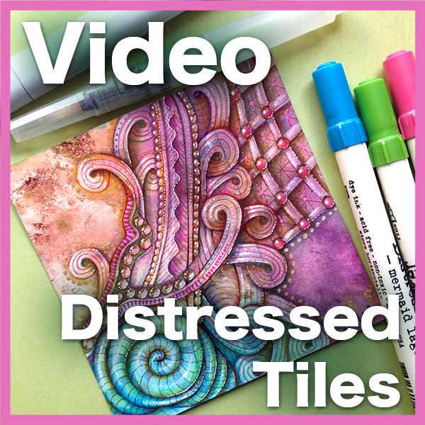 Distressed Tiles Video Lesson - • Video is over an hour long•Learn to prepare a distress ink tile• Use a variety of different media, watercolor markers, gel and ink pens• Tons of secrets on how to choose and tangle over distressed tiles• Show the COMPLETE processDelivery via email linkLearn more about this lesson