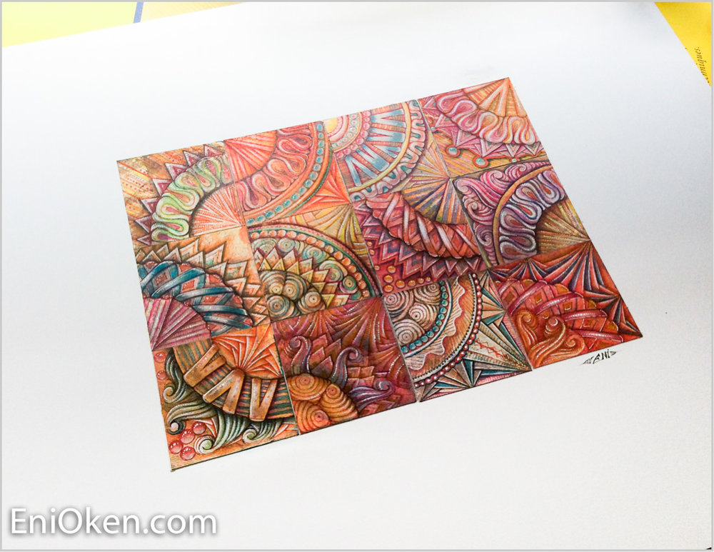 A quilt made of distress ink Zentangle® tiles • enioken.com