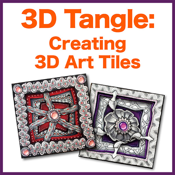 Creating 3D Art Tiles PDF Ebook - Learn how to create REAL 3-dimensional tiles using layered Zentangle-Inspired-Art and shadow box techniques. Requires using an cutting tool and scissors. Delivery via email linkLearn more about this lesson