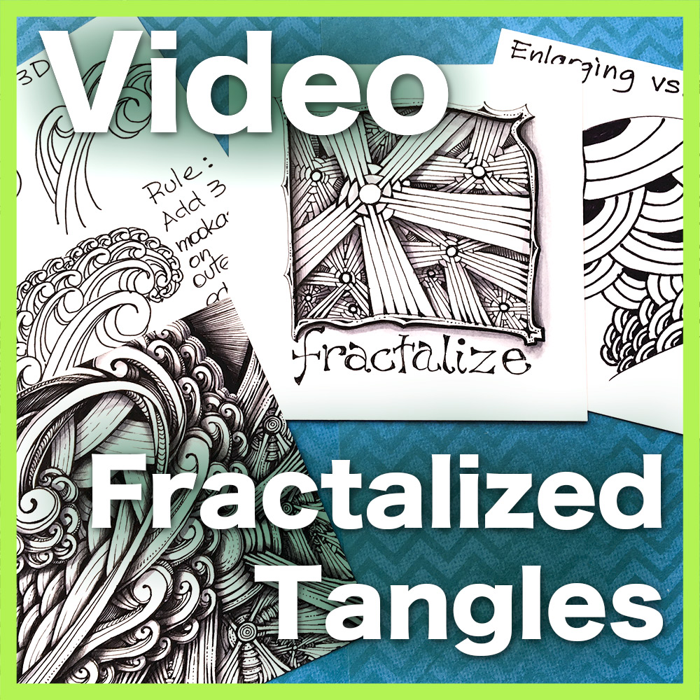 Fractalized Tangles Video Lesson - This advanced video lesson shows you how to use Fractals -- a complex mathematical concept that explains snowflakes and shorelines -- to create stunningly complex tangle designs. Delivery via email linkLearn more about this lesson