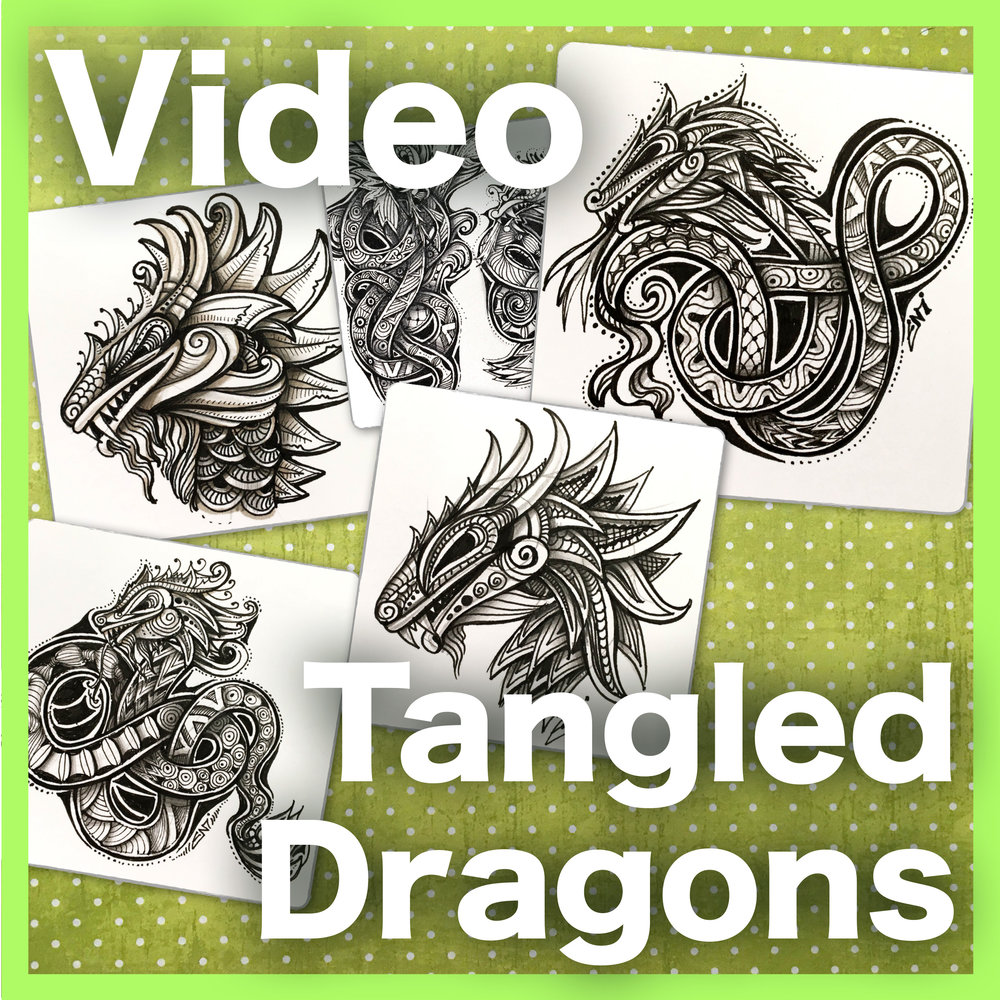 Tangled Dragons Video - Learn how to create two different types of dragons: a dragon head and a knotted tangled dragon. An intermediate/advanced video lesson.  Delivery via email link