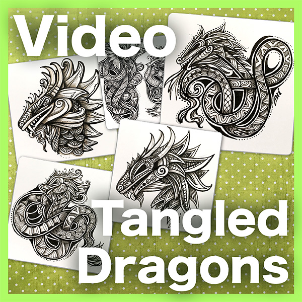 Tangled Dragons Video Lesson - Learn how to create two different types of embellished, tangle dragons: a dragon head and a knotted serpent body. An intermediate/advanced video lesson.Delivery via email linksLearn more about this lesson