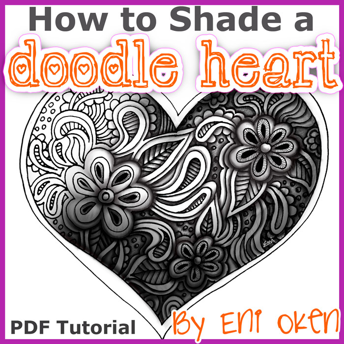 How to shade a doodle heart PDF Ebook - A 19-page (41 illustrations) detailed ebook showing you exactly how to shade this beautiful 3-dimensional doodle heart!Delivery via email linksLearn more about this lesson