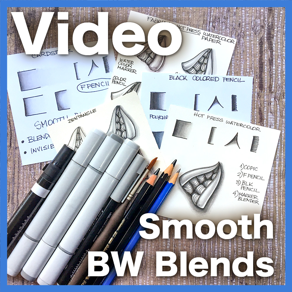 Smooth Black & White Blends Video Lesson - Learn how to take advantage of different media -- graphite pencils, black colored pencils and gray markers to create the perfect smooth blend for your shading. An easy/beginner lessonDelivery via email link