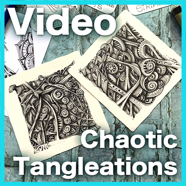 Chaotic Tangleations Video Lesson - This is an ULTRA ADVANCED video lesson showing you how to use tangleations to produce complex images that resemble the work of doodlers, using your most beloved tangles.Delivery via email link
