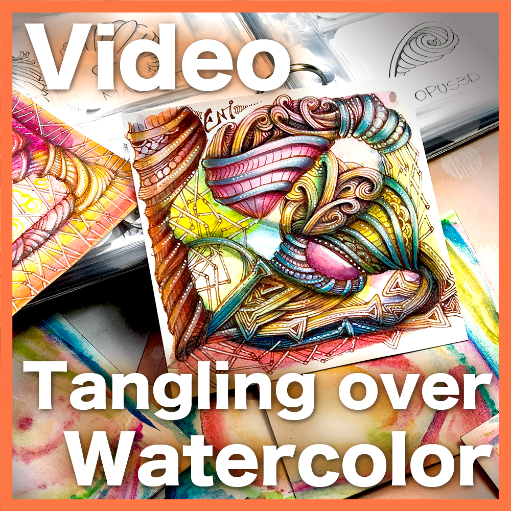 Tangling over Watercolor Video Lesson - Learn how to create and tangle over a watercolor string background and how to create 3D shapes, using bridged tangles with a variety of colored media. An advanced 50-minute lesson.
