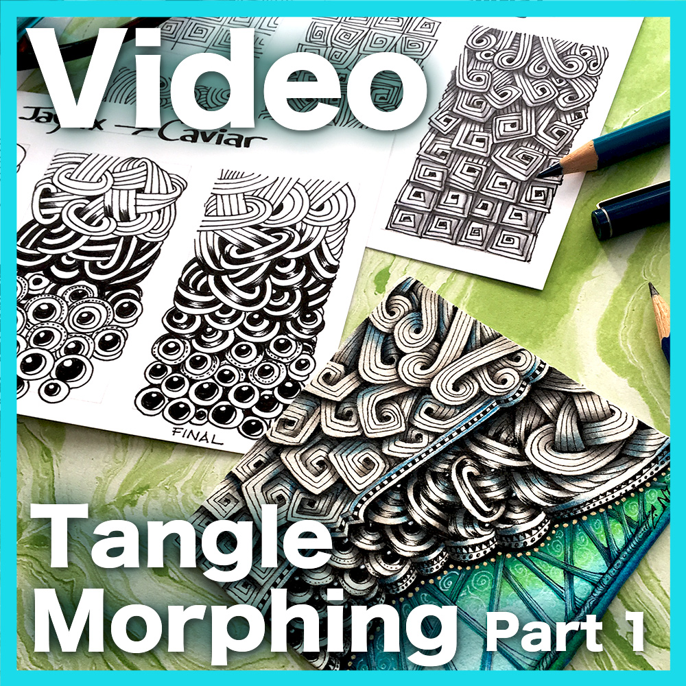 Tangle Morphing Part 1 Video Lesson - Learn how to create smooth and gradual transitions between two different tangles, using organic fillers and/or grids. Part 1 of 2 series.An advanced hour-long video.Learn more about this lesson