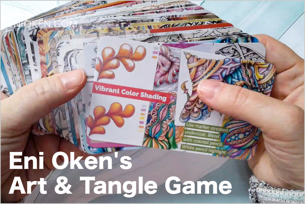 Art & Tangle Game  - My latest learning tool: a card game with 48 Art Enhancer cards. Find inspiration through unusual combinations, and learn how to evaluate your own art. Learn more