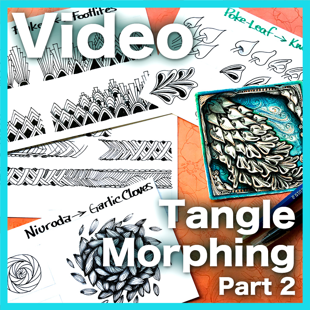 Tangle Morphing Part 2 Video Lesson - Learn how to create smooth and gradual transitions between vine, edge/weed, blossom and ribbon tangles. Part 2 of 2 series.An advanced hour-long video.Learn more abut this lesson