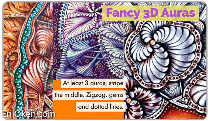 Fancy 3D Auras - Creates strong barrierProvides additional embellishmentAffects the entire drawingSeparates sections very visiblyRequires at least 3 aurasMiddle section needs additional patterningCan curve and adapt to 3D shapes