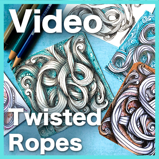 Twisted Ropes Video Lesson - Learn how to create these super cool twisted ropes, and to developed a tangled background. Get it at the shop