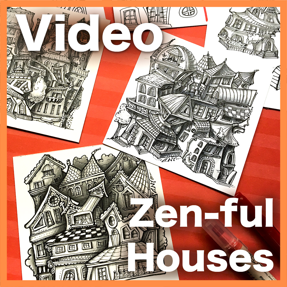 Zen-ful Houses Video Lesson - Learn how to create these adorable villages made of tiny fantasy Zen-ful houses. Two different techniques, intermediate and advanced. An 1:15 hour long video.