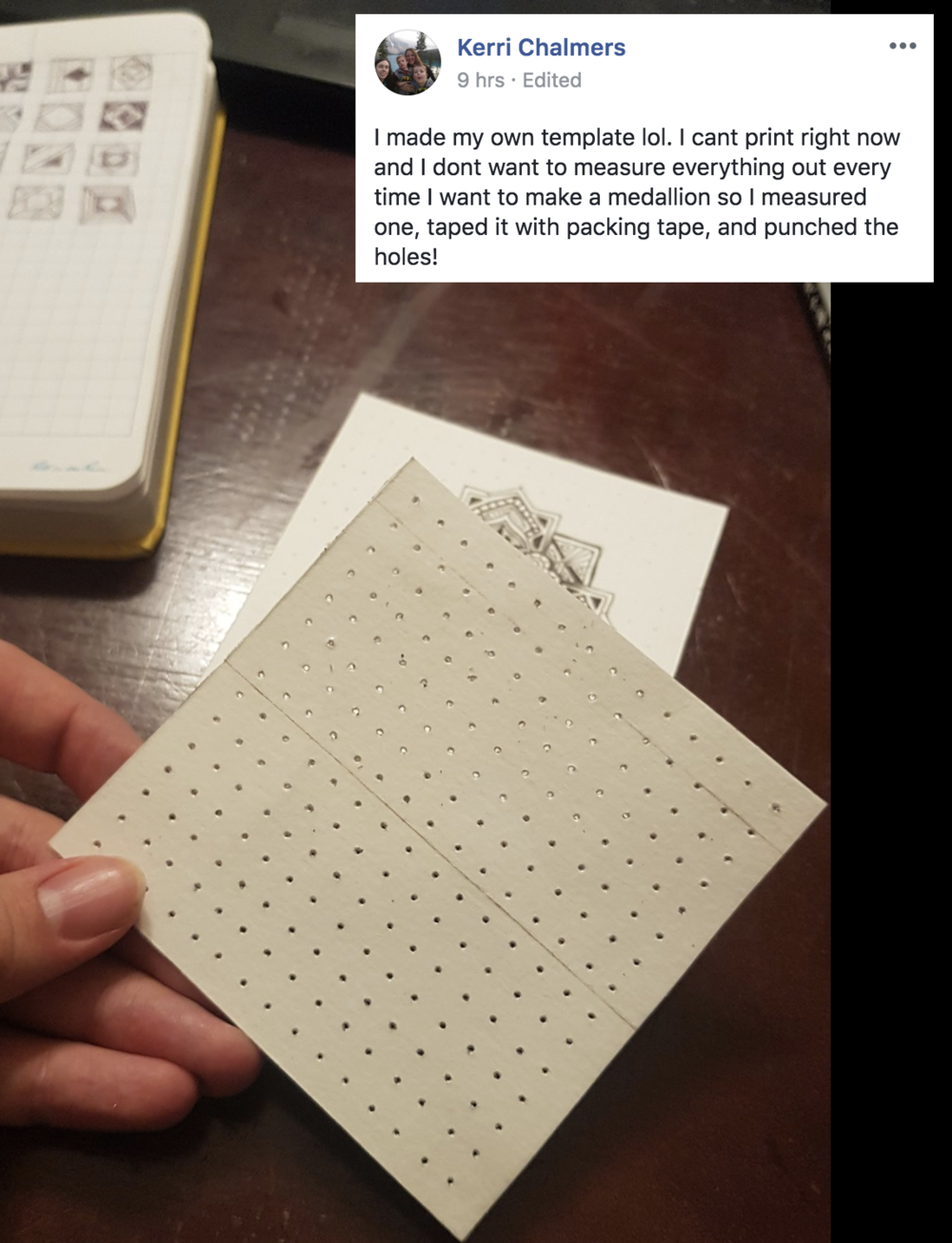 Tip: Make your own template! - If you can't print your dotted paper over cardstock, then use this really neat idea by Kerri. Mark your own dots on cardstock, tape it with packing transparent tape to make it sturdier and then punch the holes with a thick needle. Brilliant, thank you Kerri!