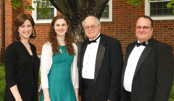 Our 2016 Scholarship winner of $2,000 was Ms. Haley Griffith, who is pursuing degrees in Vocal Performance and Communication Sciences and Disorders at James Madison University. Read more about her by clicking here. (Pictured: Sarah Frook, Artistic Director; Haley Griffith, scholarship winner; Charles M. Bump, Managing Director; Mark Sink, Scholarship committee member)