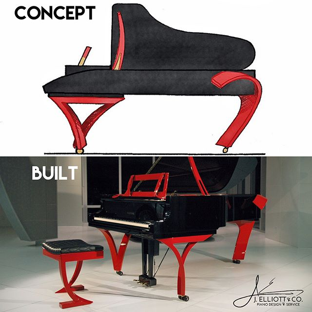 It's amazing what comes out of a concept idea. Here is our original concept for the Grand Rossa piano design and the after built result of that concept. #custompiano #yamahapiano #jelliottco #piano #grandpiano #whatsonyourbench #ferrari