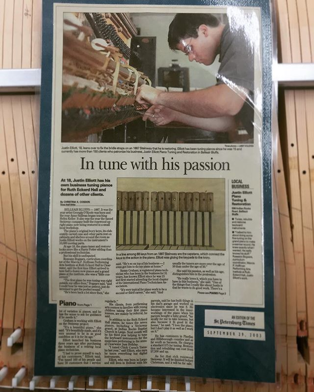 """At age 18, the piano tuner and restorer looks more like a Harry Potter sibling than a professional technician. But his skill is undisputed."" ... Throwback to 9/29/2003 First newspaper article in the St. Petersburg Times on our founder Justin Elliott @pianodesigner .... #piano #pianotechnician #grandpiano #pianorestoration #jelliottco #tbt"