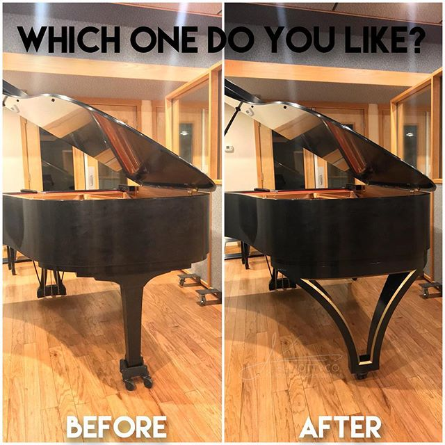 Which one do you like? Before or After with our custom Royal Ebony piano design on it? This #yamahapiano is at @cleartrackstudios ... #piano #pianist #recordingstudio #jelliottco #cleartrackstudios