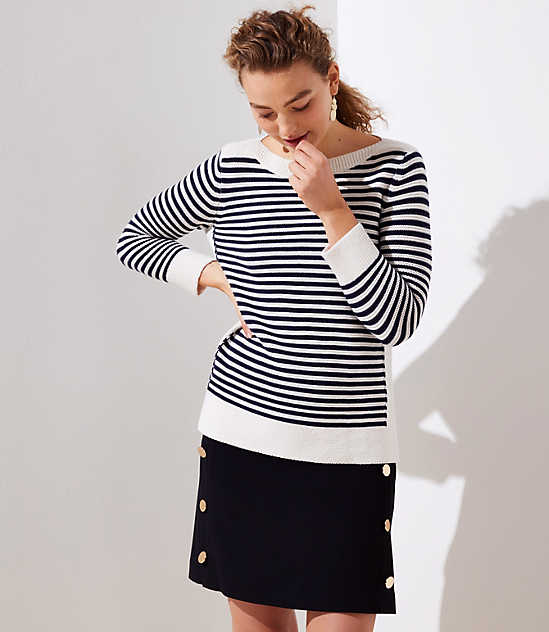 Striped Stitchy Boatneck Sweater