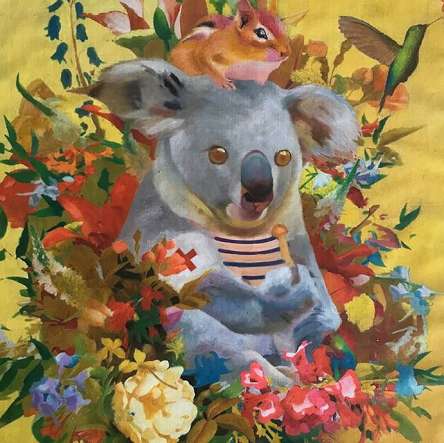"Underpainting for my new painting ""Food of the Gods""  #mushrooms #magicmushrooms #food #god #koala #painting #oilpainting #contemporaryart #instapainting #flowers #psilocybin"