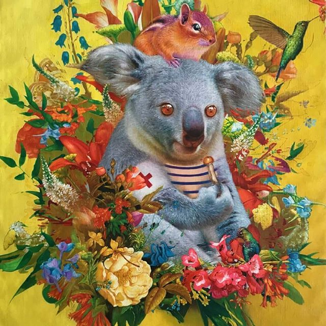 """Food of the Gods"" 65 cm x 95 cm #oilpainting #oiloncanvas  2018 ...Soon available for purchase... A #koala and his little #friend share a #magicmushroom  #imaginary #realism #surrealism #contemporaryart #instapainting #instaart #magicmushrooms #psilocybin #dmt #journey #flowers #color #colors #redcross #peace #love #happiness #animal @gallerymontulet"