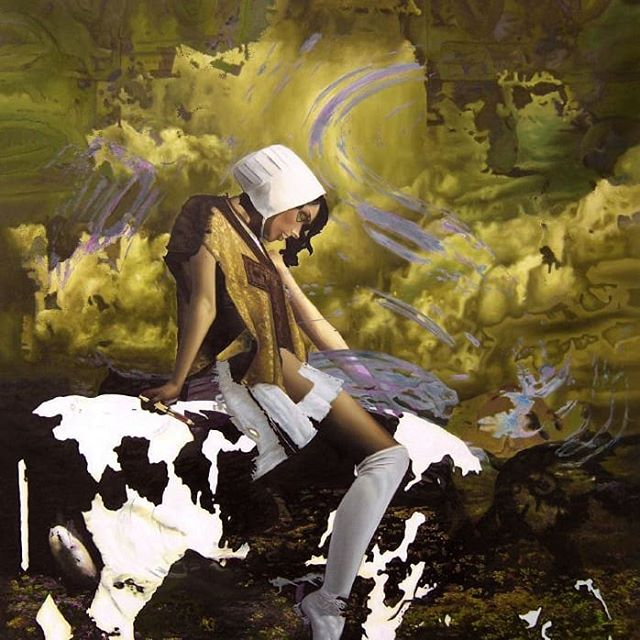 """Monsanto cows"" Artist: Menunana  A female farmer tries to keep one of her last cows alive through monsanto medicine  #instaart #instapainting #surrealism #painting #cow #monsanto #dutch #contemporaryart #visionaryart #art"