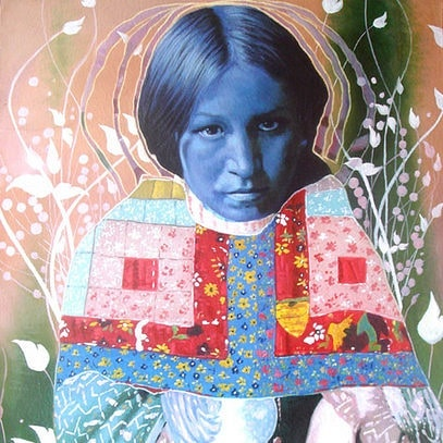 "Title: ""Blue indian"" Artist: Menunana  #painting #schilderij #indian #pink #quilt #ayahuasca #blueforyou #contemporaryart"