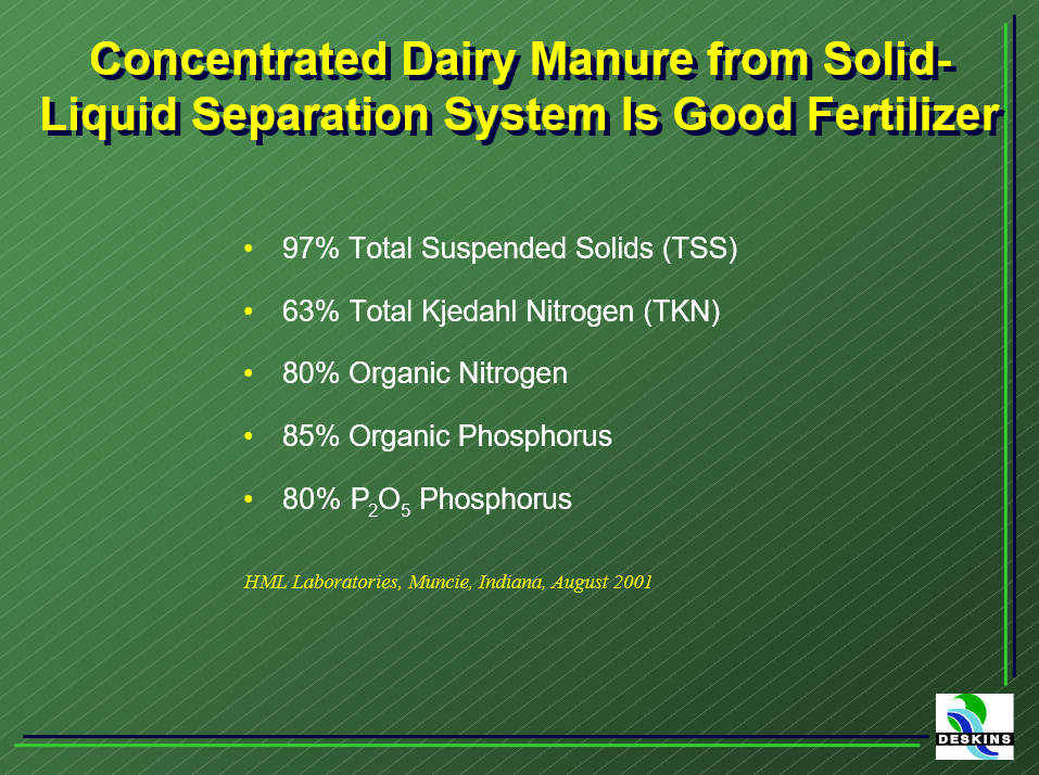 Concentrated dairy manure from Deskins liquid-solid separation is an efficient fertilizer