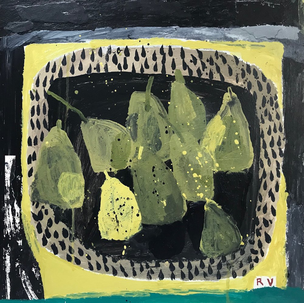 A Conference of Green Pears. Acrylic and collage on board. 41cm x 41cm £895.jpg