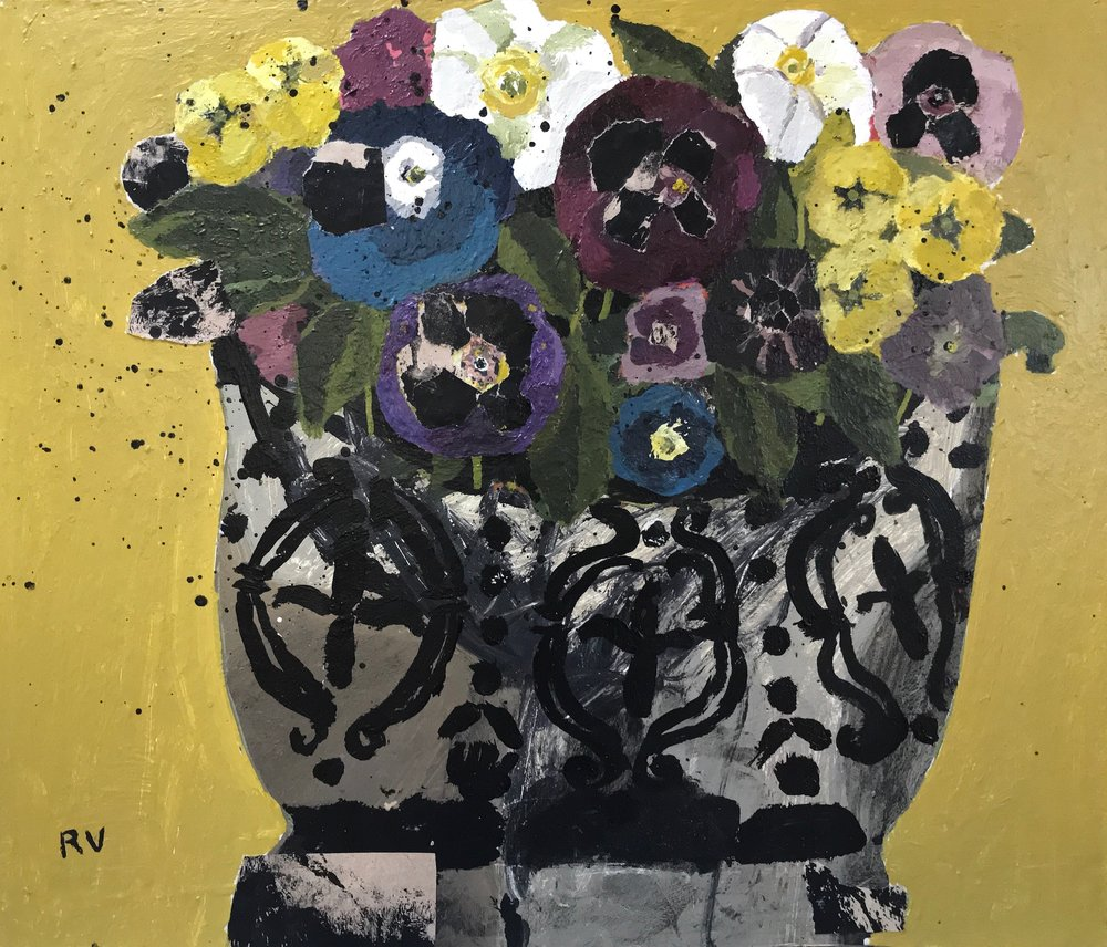 A Pot Full of Flowers. Acrylic and collage on board. 36cm x 31cm. £750.jpg