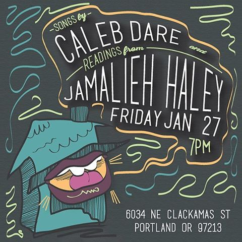 NEXT FRIDAY! Songs & Stories: House Show ft. songs by Caleb Dare & readings from Jamalieh Haley  Doors open at 7pm. Snacks provided. BYOBeverageofchoice.  Grab your friends. See you there!