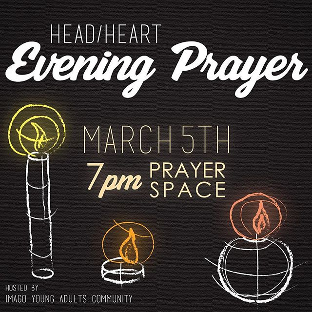 We're kicking off this new season of Head/Heart next Sunday evening, March 5th! We're looking forward to worshiping, reading scripture, and hanging out with you all. Mark the date and we'll see you there! ••••• Head/Heart is our monthly worship gathering, where we sing, pray and read together, following a traditional evening prayer liturgy. 7pm in the Imago Prayer Space (SE 15th & Ash). Questions? Email kenya@idcpdx.com