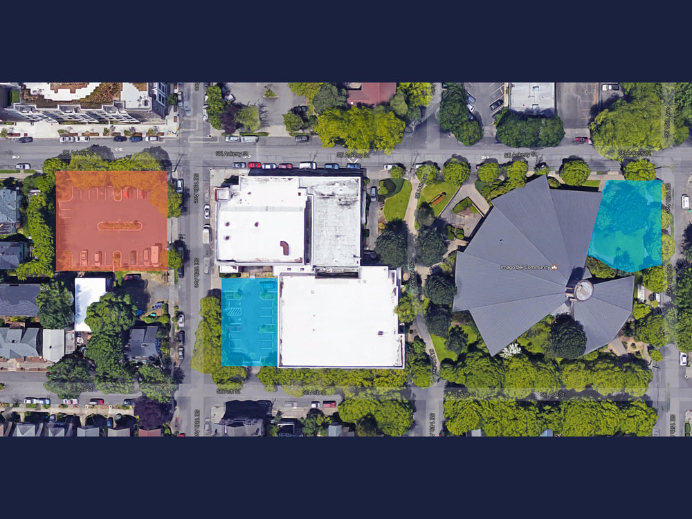 In blue - parking lots to be built/expanded.